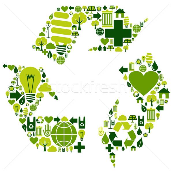 Reciclar símbolo ambiental ícones vetor arquivo Foto stock © cienpies