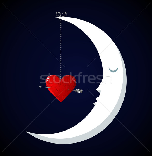 Moon Fall in love Valentines day background Stock photo © cienpies