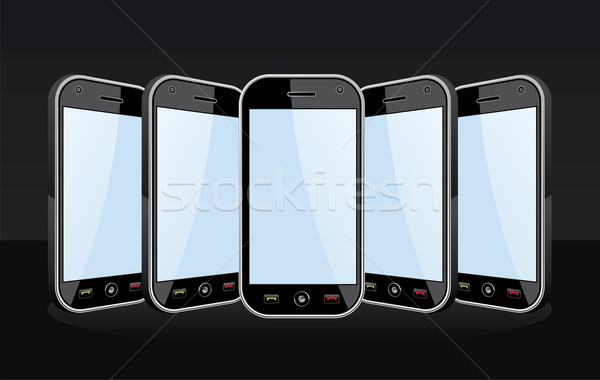 Set of Smartphones templates on black Stock photo © cienpies
