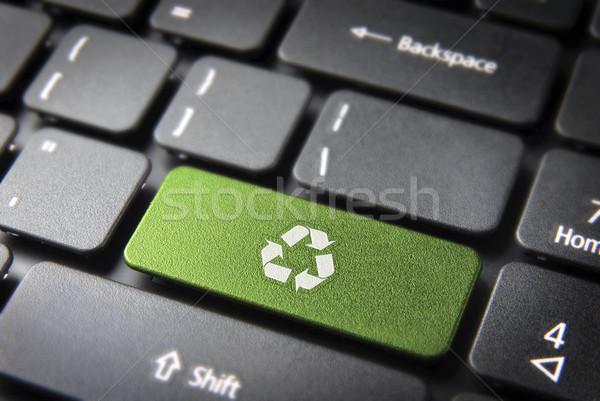 Recycle keyboard key, environmental background Stock photo © cienpies