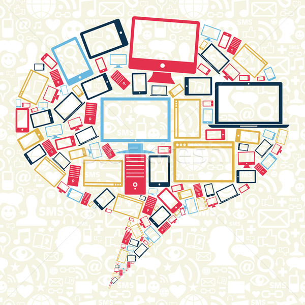 Social networks gadgets icons speech bubble Stock photo © cienpies