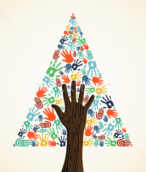 Diversity Christmas pine Tree hands Stock photo © cienpies
