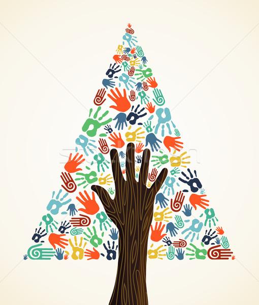 Diversity Christmas pine Tree hands Stock photo © cienpies