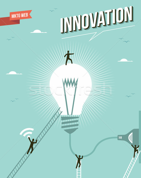 Innovation idée ampoule groupe de travail illustration marketing Photo stock © cienpies