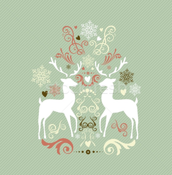 Vintage Merry Christmas decoration with reindeers EPS10 file. Stock photo © cienpies