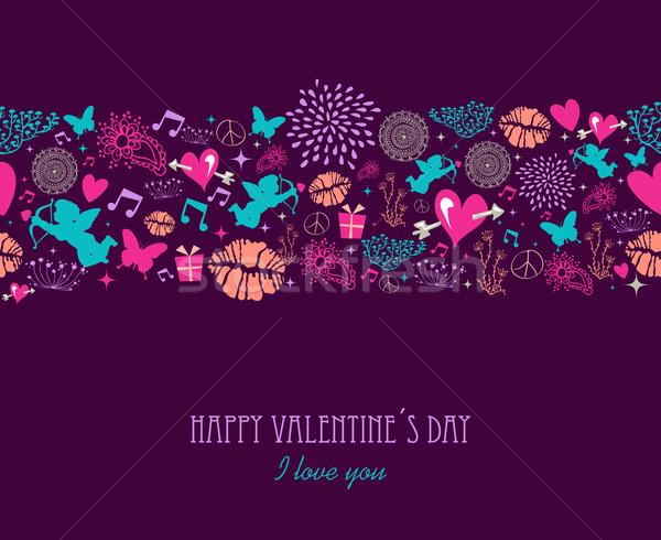 Stock photo: Happy Valentine`s day greeting card