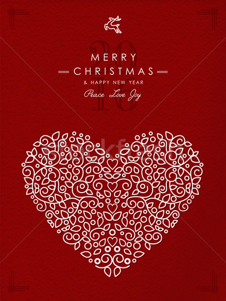 Merry christmas happy new year outline heart deco Stock photo © cienpies