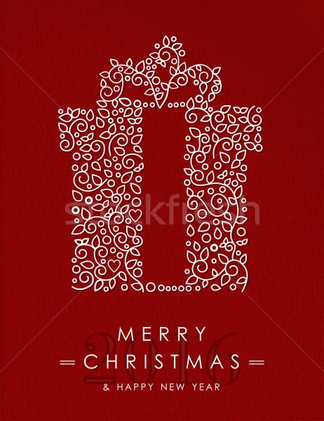 Foto d'archivio: Allegro · Natale · buon · anno · contorno · regalo · 2016