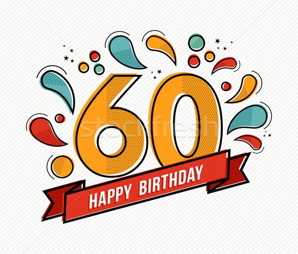 カラフル お誕生日おめでとうございます 番号 60 行 デザイン ストックフォト © cienpies