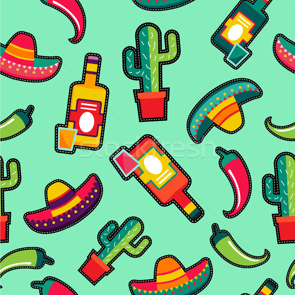 Stitching patches mexico icons seamless pattern Stock photo © cienpies