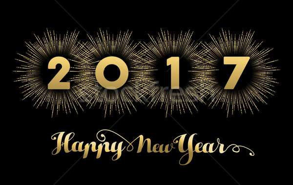 New Year 2017 gold design with fireworks  Stock photo © cienpies