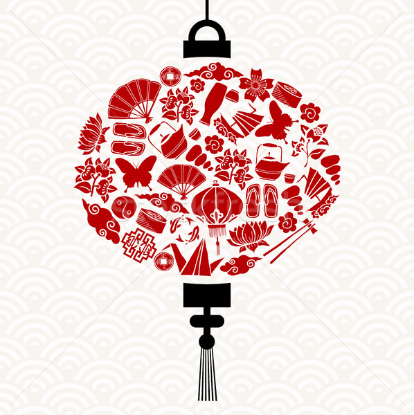 Chinese New Year lantern with red asian icons Stock photo © cienpies