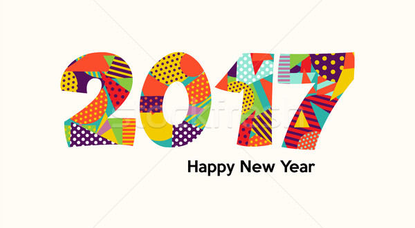 Happy New Year 2017 fun color typography design Stock photo © cienpies