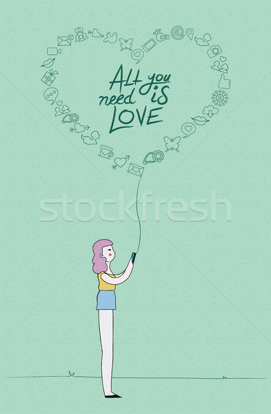 Social media love concept design of girl on phone Stock photo © cienpies