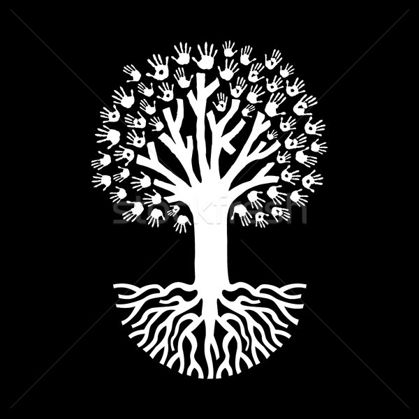 Hand tree in black and white for community help Stock photo © cienpies