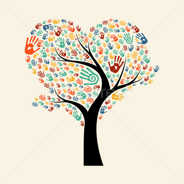 Tree hand illustration for diverse team help Stock photo © cienpies