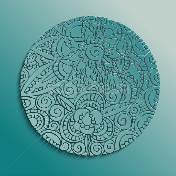Traditional floral mandala paper cut design Stock photo © cienpies