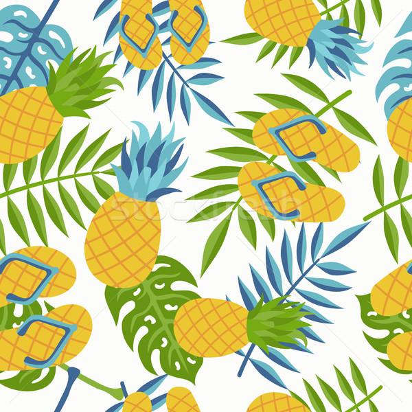 ананаса тропические джунгли шаблон лет Сток-фото © cienpies