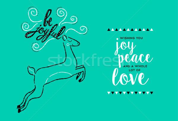 Vidám karácsony kézzel rajzolt szarvas üdvözlőlap új év Stock fotó © cienpies