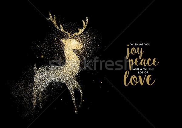 Heiter Weihnachten Gold glitter Hirsch Urlaub Stock foto © cienpies