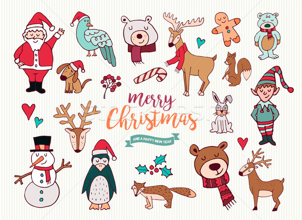 Foto d'archivio: Natale · capodanno · cute · doodle · cartoon · raccolta