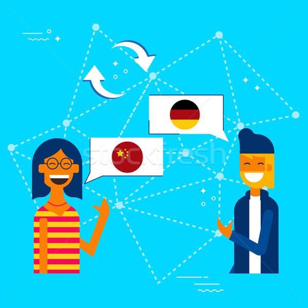 Znajomych chińczyk język komunikacji tłumaczenie ilustracja Zdjęcia stock © cienpies