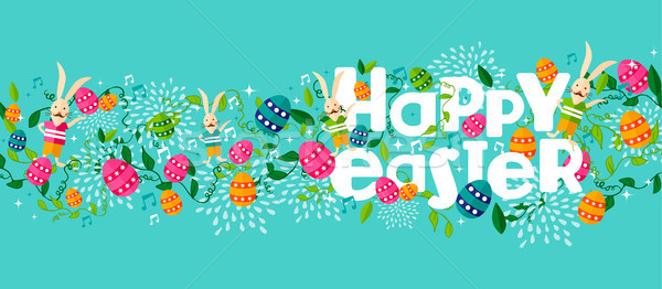 Happy spring easter holiday web banner with bunny Stock photo © cienpies