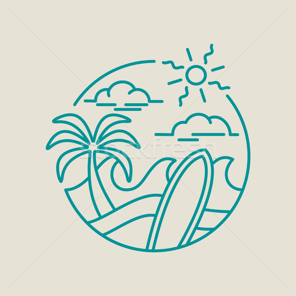 Beach surf icon for summer vacation in line art Stock photo © cienpies