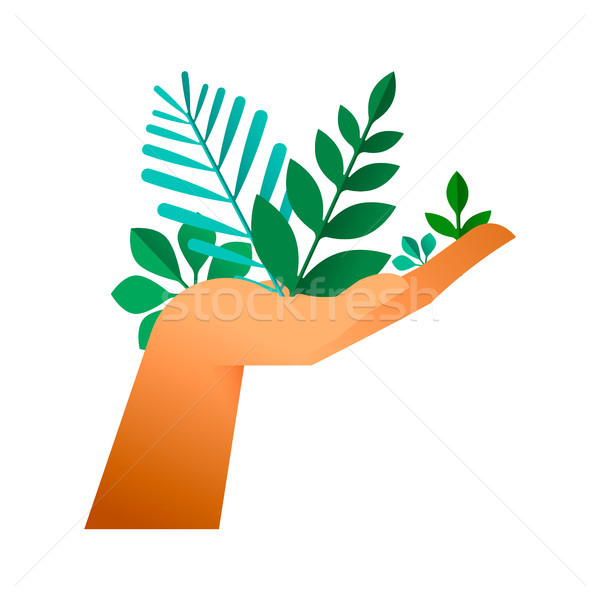 Human hand with green plant leaf for earth help Stock photo © cienpies
