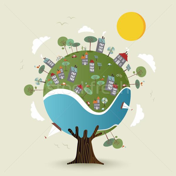 Groene aarde boom duurzaam stad milieu Stockfoto © cienpies