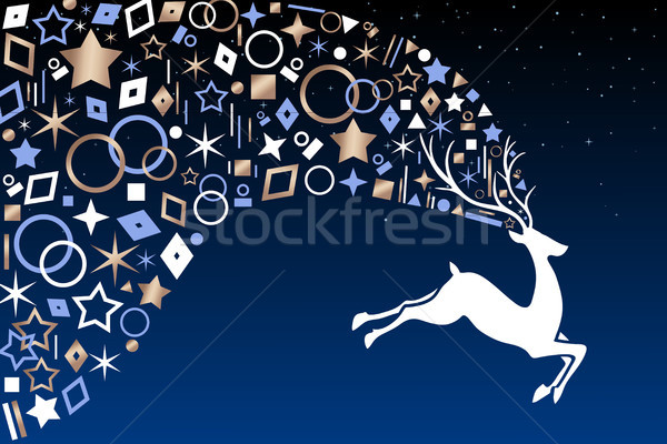 Christmas deer with copper ornaments on night sky Stock photo © cienpies