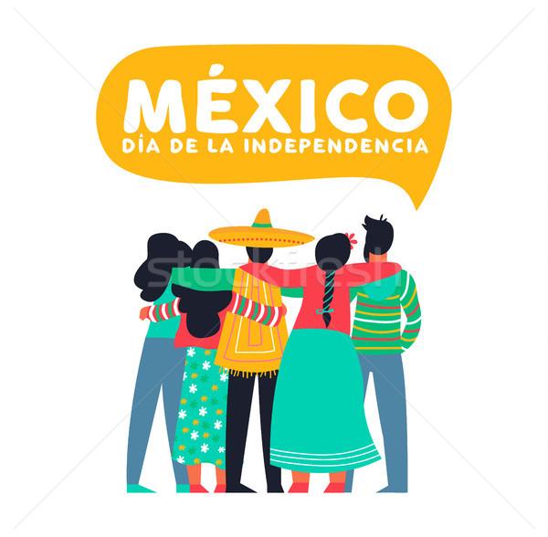 México dia cartão mexicano amigos feliz Foto stock © cienpies