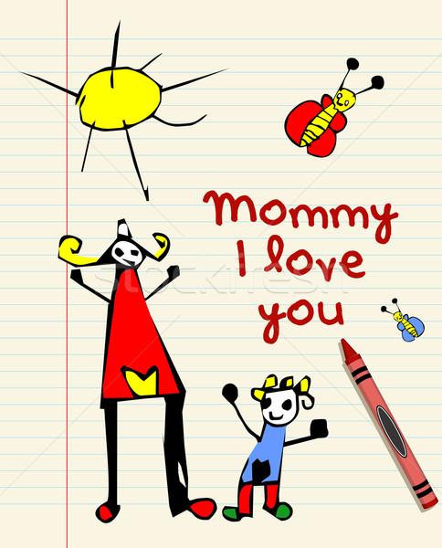 Kind tekening liefde gestreept Stockfoto © cienpies