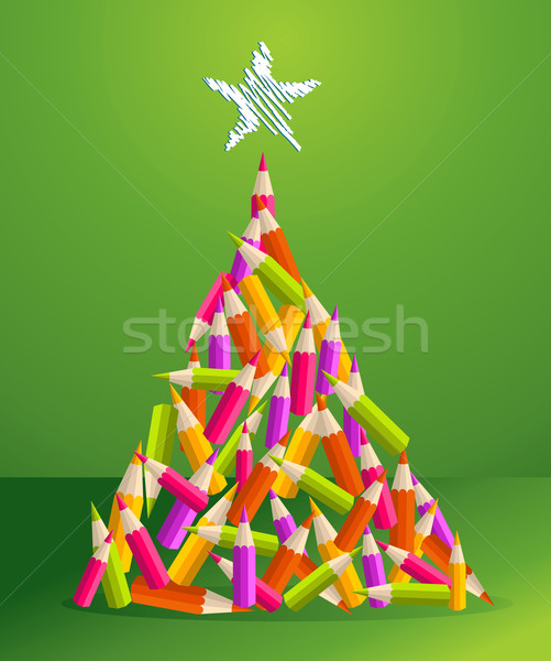 Design and art pencils Christmas tree Stock photo © cienpies