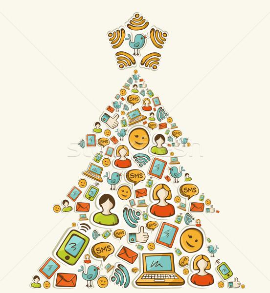 Médias sociaux réseaux arbre de noël Noël arbre de pin Photo stock © cienpies