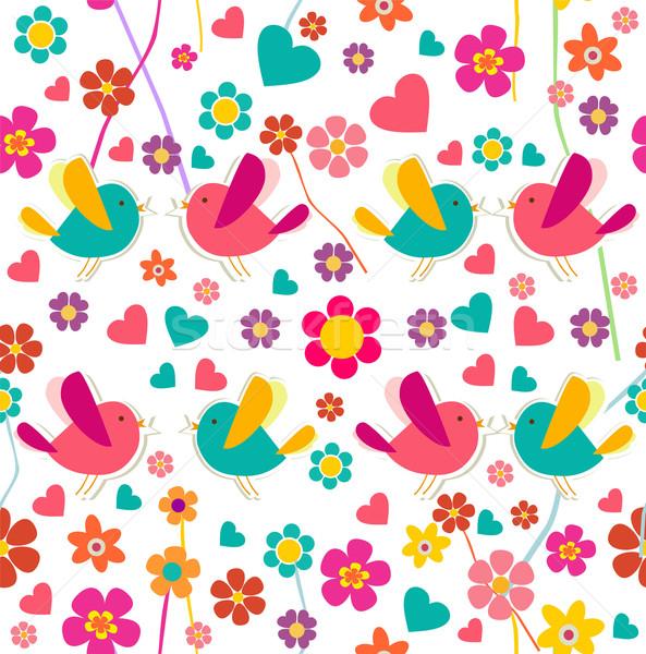 Primavera uccello modello di fiore uccelli fiori Foto d'archivio © cienpies