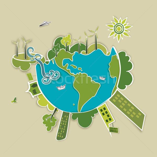 Green world background Stock photo © cienpies