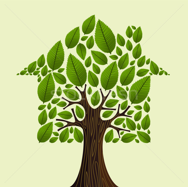 Real estate green tree house concept. Stock photo © cienpies
