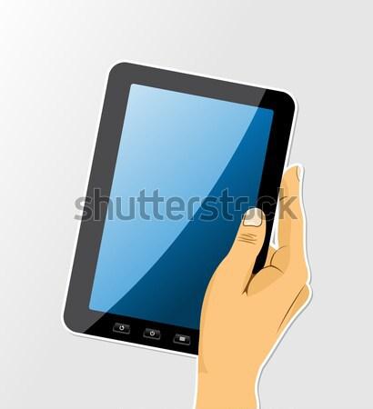 Menselijke hand touch computer elektronische tablet geïsoleerd Stockfoto © cienpies
