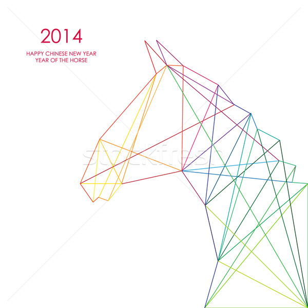 Chinese new year of the Horse triangle lines illustration. Stock photo © cienpies