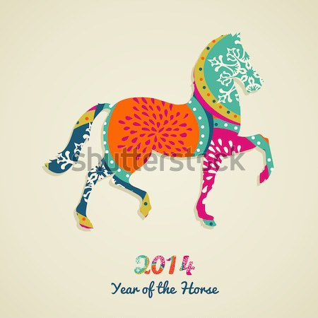 Chinese new year of the Horse colorful triangle shape file. Stock photo © cienpies