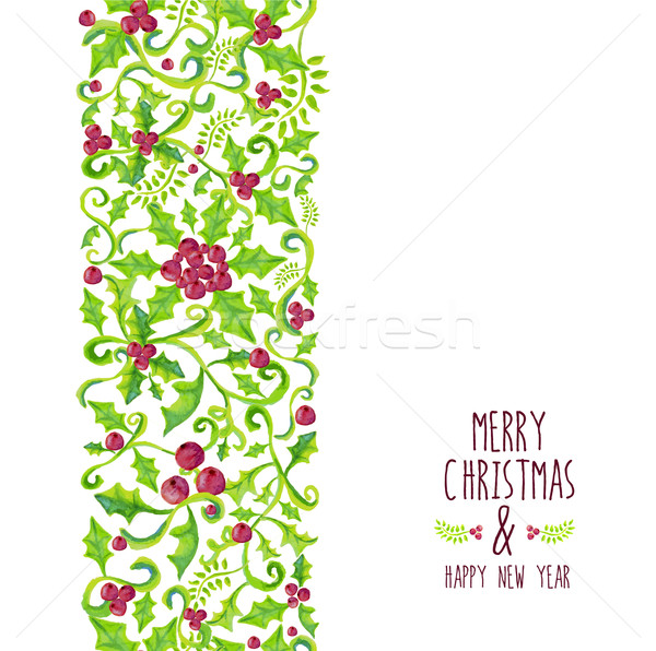 Merry Christmas watercolor holly berry pattern Stock photo © cienpies