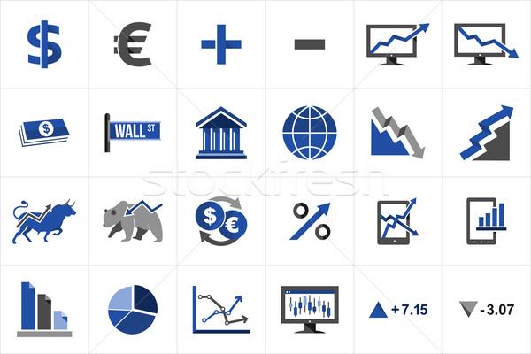 Stock fotó: Tőzsde · pénzügy · ikon · gyűjtemény · csere · illusztráció · ötletek