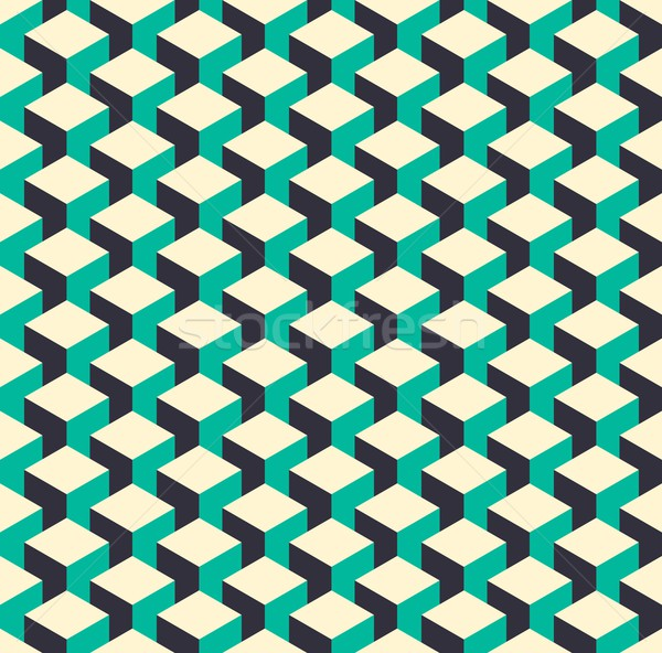 Abstract isometric 3d retro cube pattern background Stock photo © cienpies