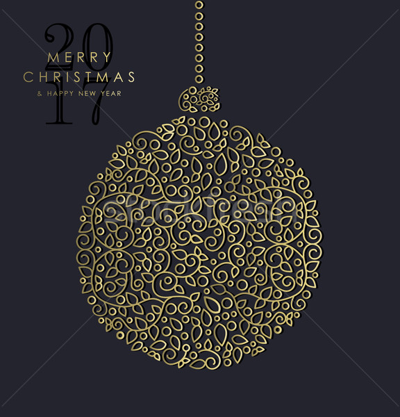 Gold Christmas and new year ornamental bauble Stock photo © cienpies