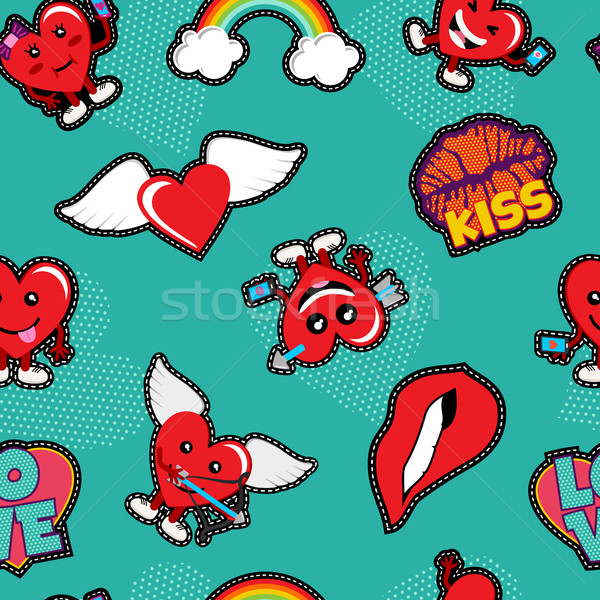 Valentines day love patch icon seamless pattern Stock photo © cienpies
