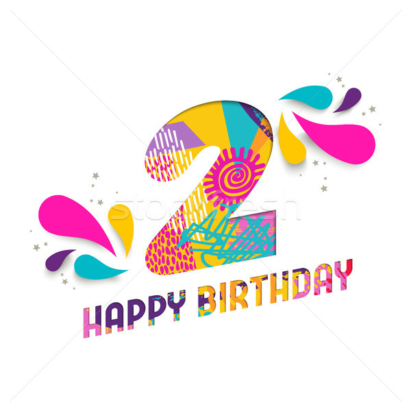 Happy birthday 2 two year paper cut greeting card Stock photo © cienpies