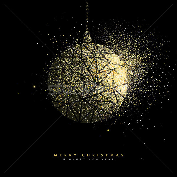 Christmas and new year gold glitter decoration Stock photo © cienpies