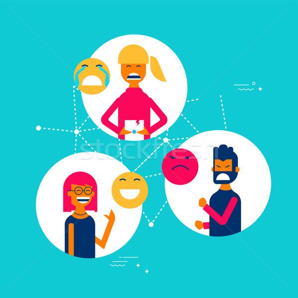 People expressions using social media app emojis Stock photo © cienpies
