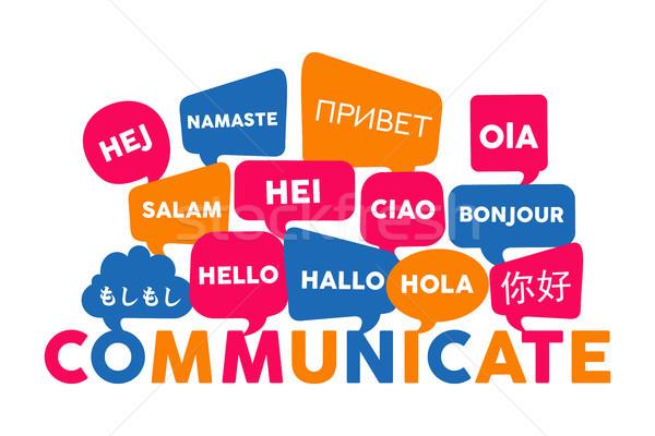 Nemzetközi nyelv kommunikáció chat buborékok különböző Stock fotó © cienpies